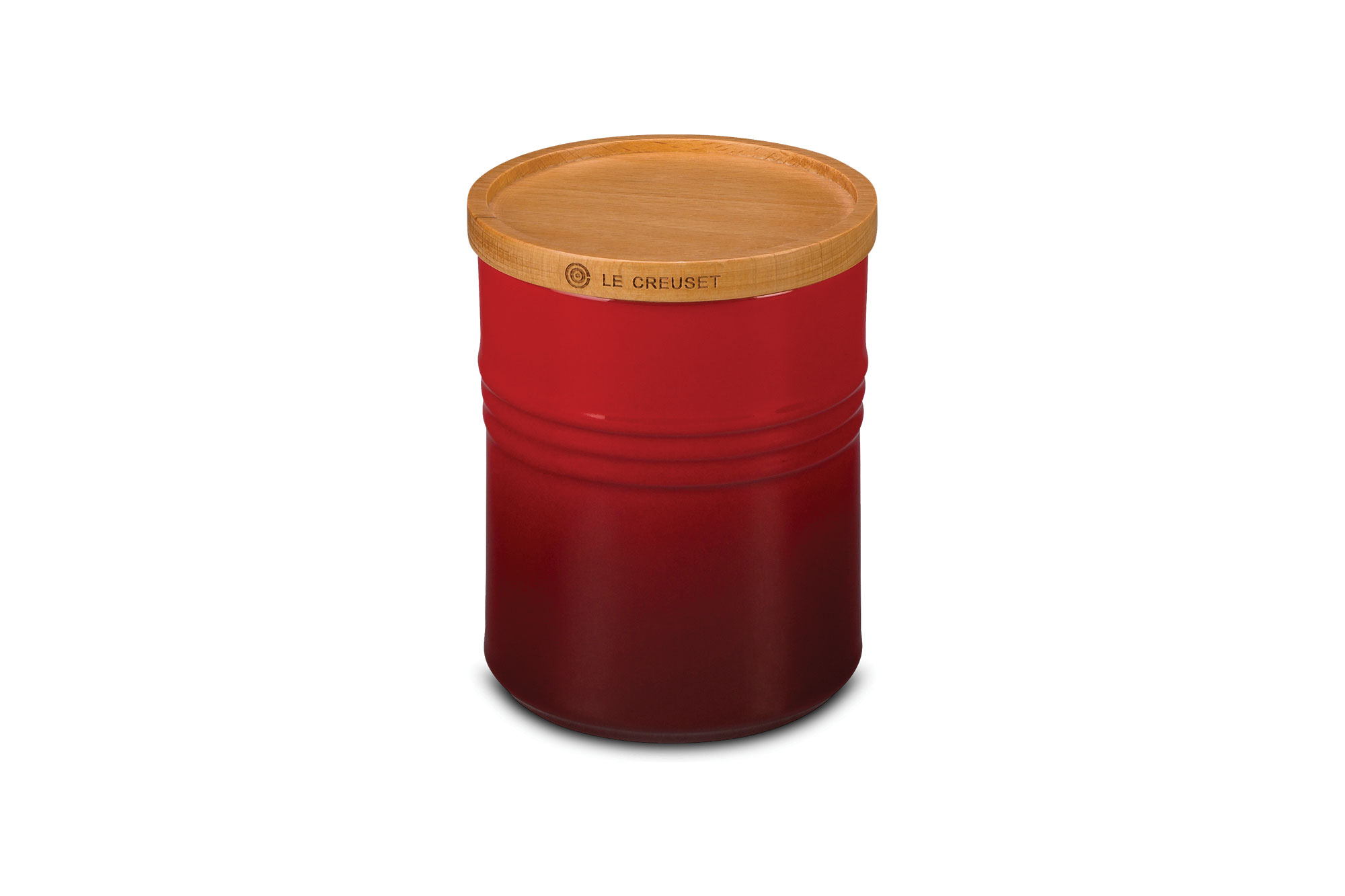 Le Creuset Stoneware 22 Oz Canister With Wood Lid Cherry