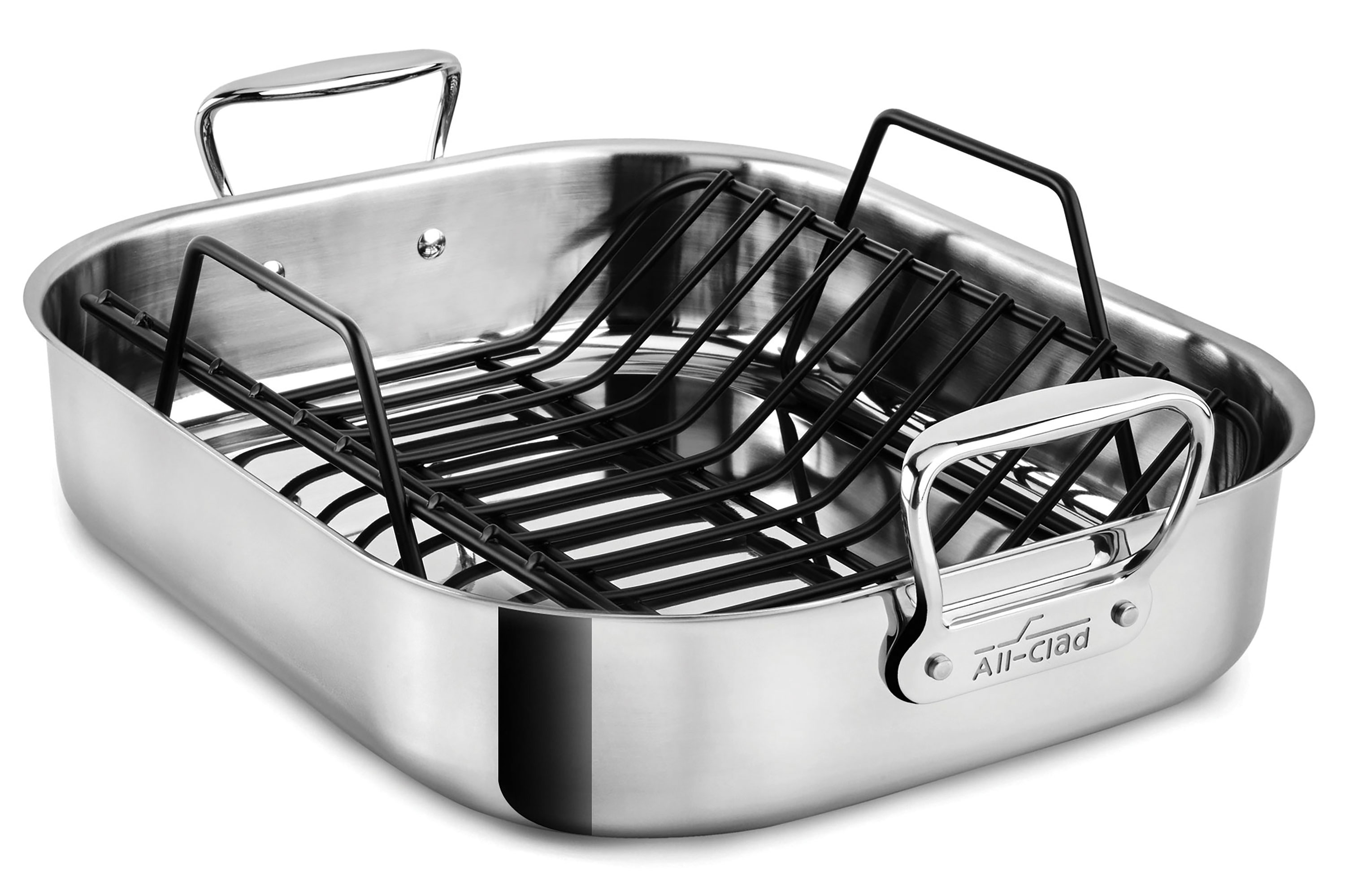 all clad roasting pan stainless steel large 16x13 inch turkey roaster cutlery and more. Black Bedroom Furniture Sets. Home Design Ideas