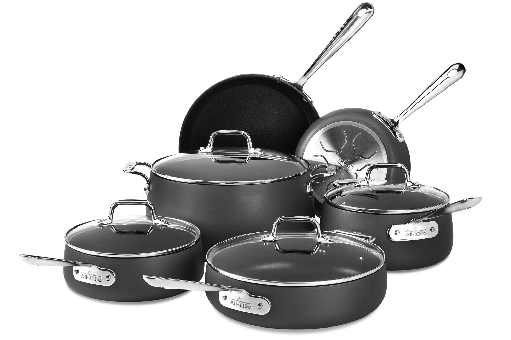 All Clad Ha1 Nonstick Cookware Set 10 Piece Cutlery And