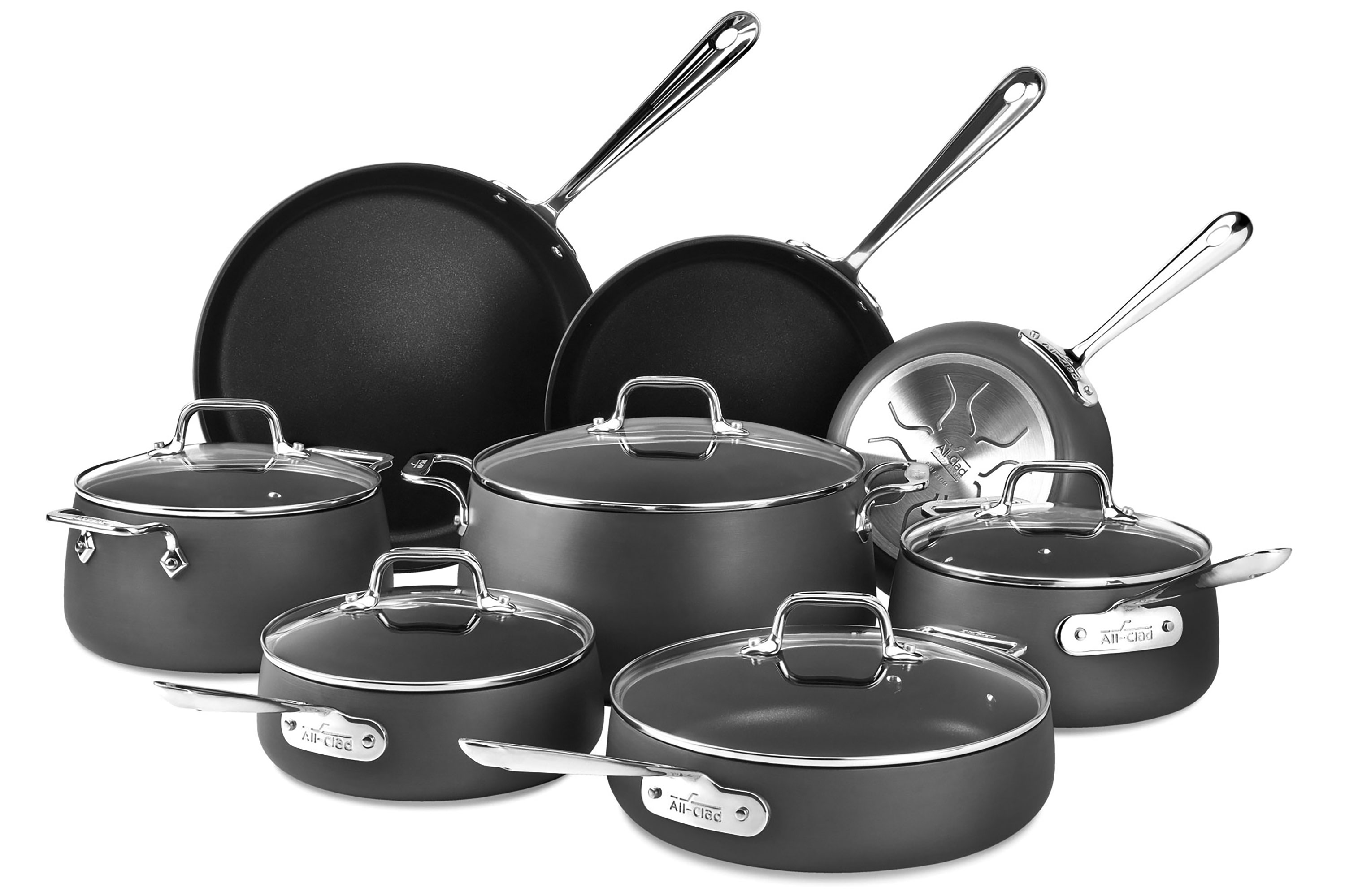 all clad ha1 nonstick cookware set 13 piece pots and pans cutlery and more. Black Bedroom Furniture Sets. Home Design Ideas