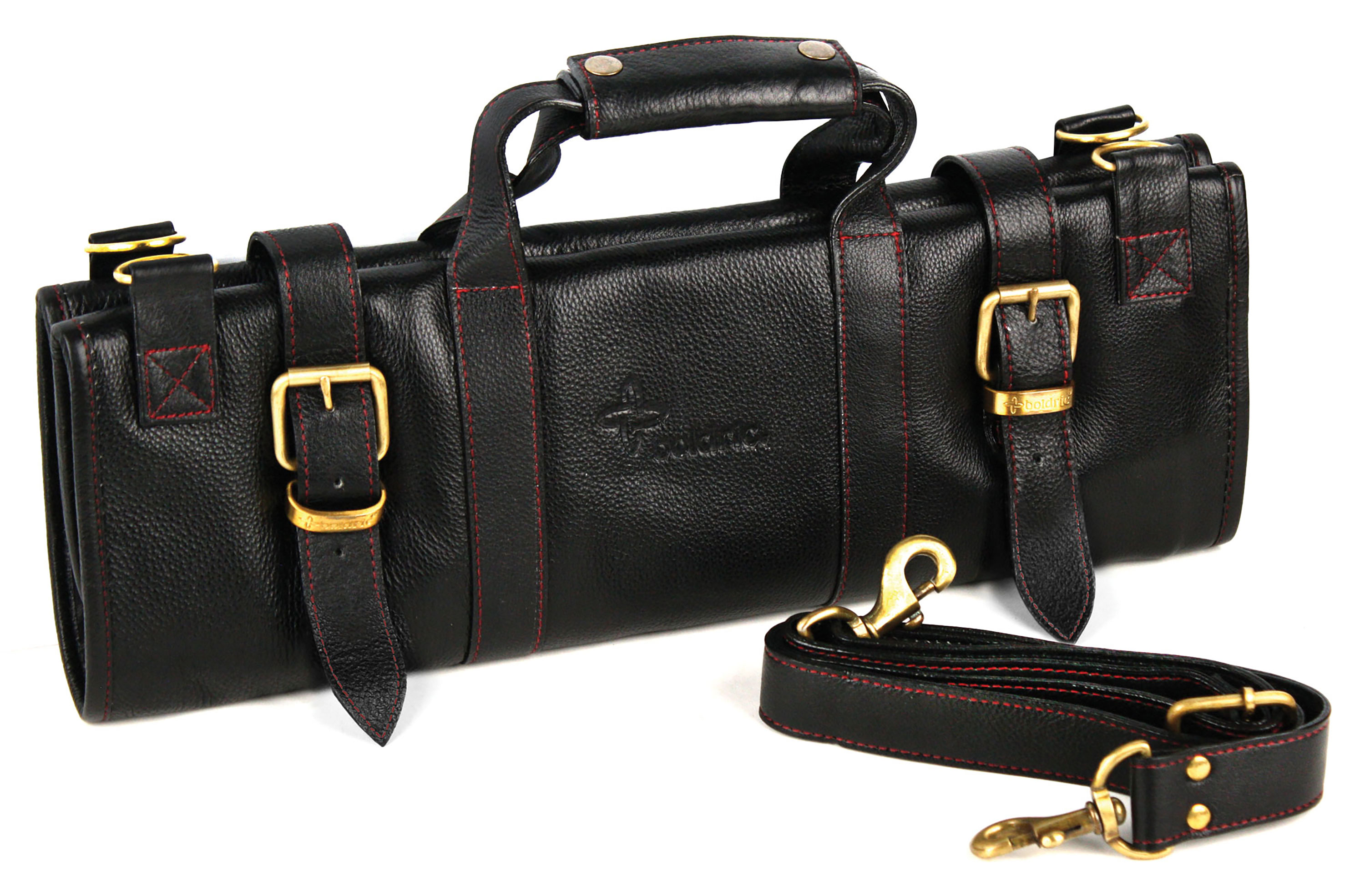 Boldric Leather Knife Bag 17 Pocket Black Cutlery And More