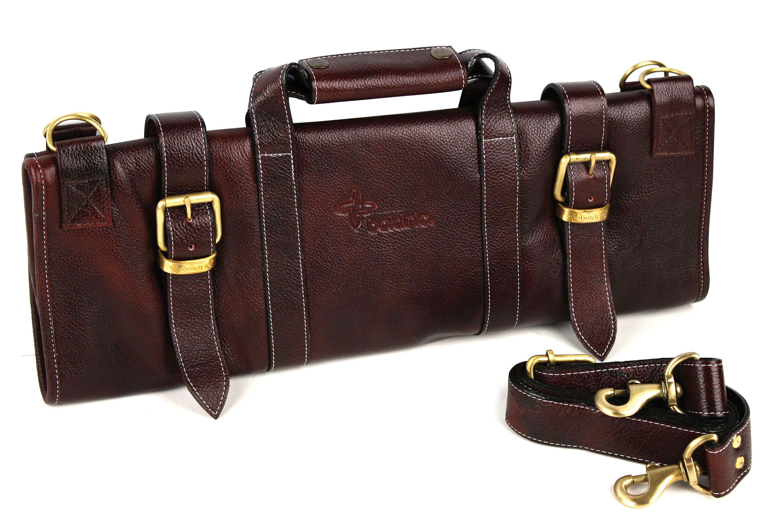 boldric leather knife bag 17 pocket brown cutlery and more. Black Bedroom Furniture Sets. Home Design Ideas