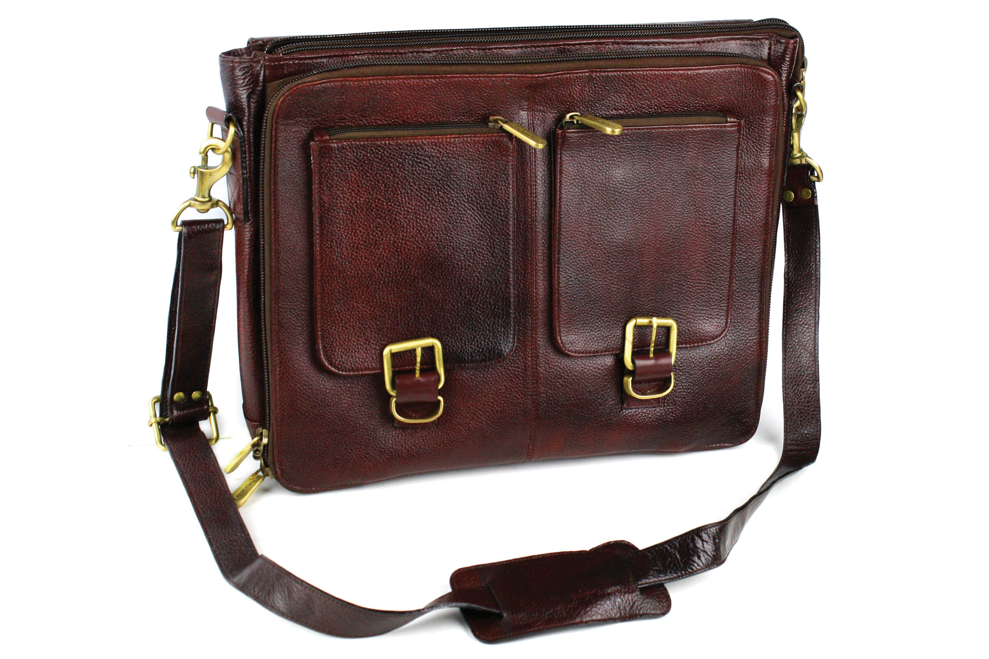 Boldric Leather Messenger Knife Bag 10 Pocket Brown