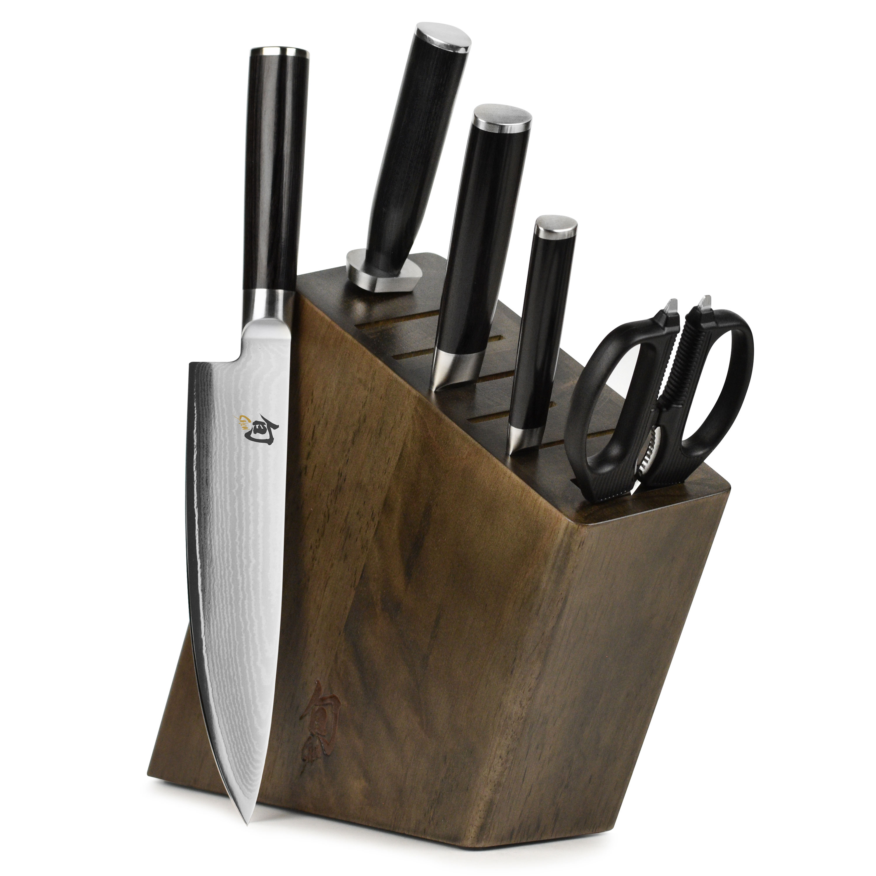 shun classic knife set slim block 7 piece shun chef 39 s knives cutlery and more. Black Bedroom Furniture Sets. Home Design Ideas