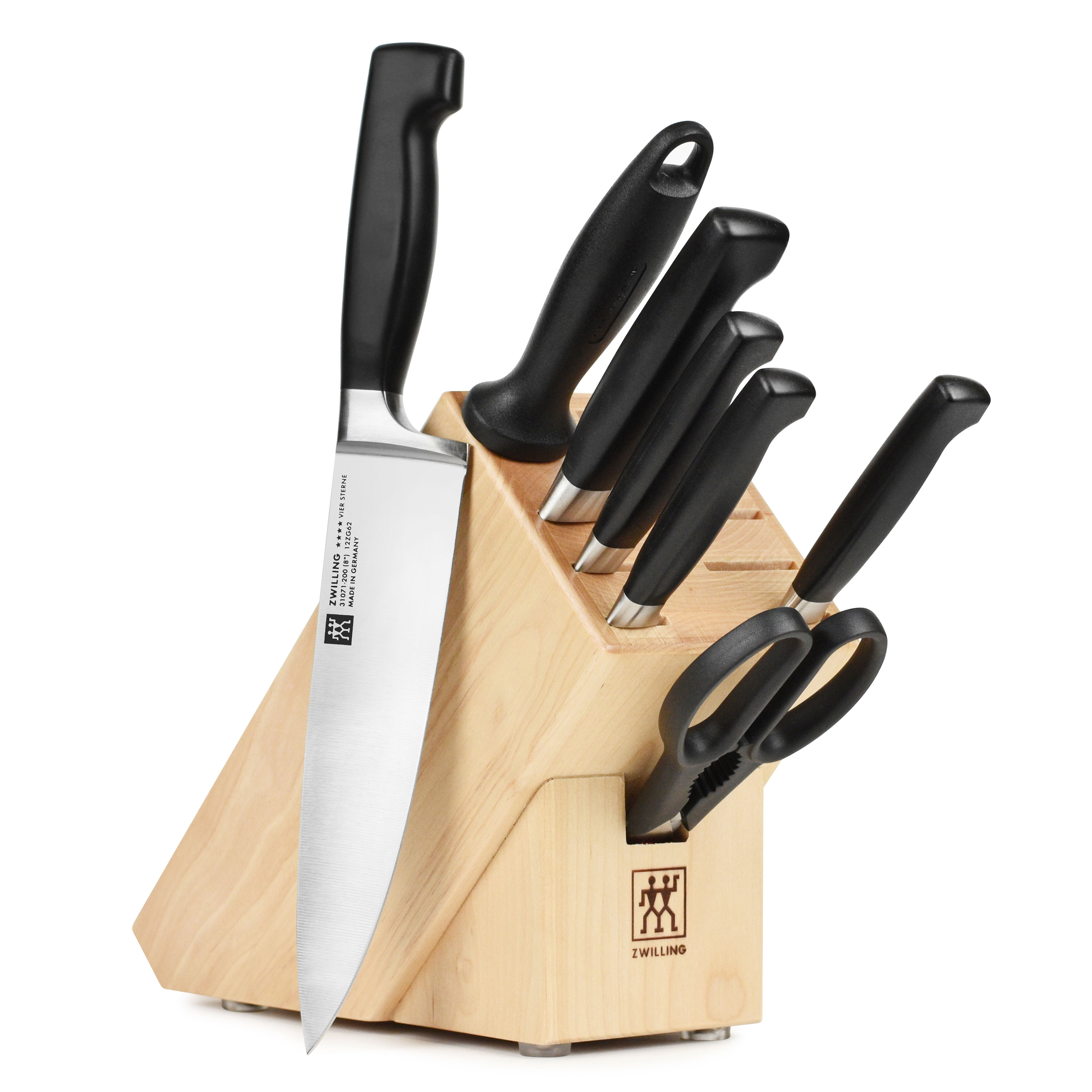 knives henckels zwilling four star set 8 piece with knife block by j a