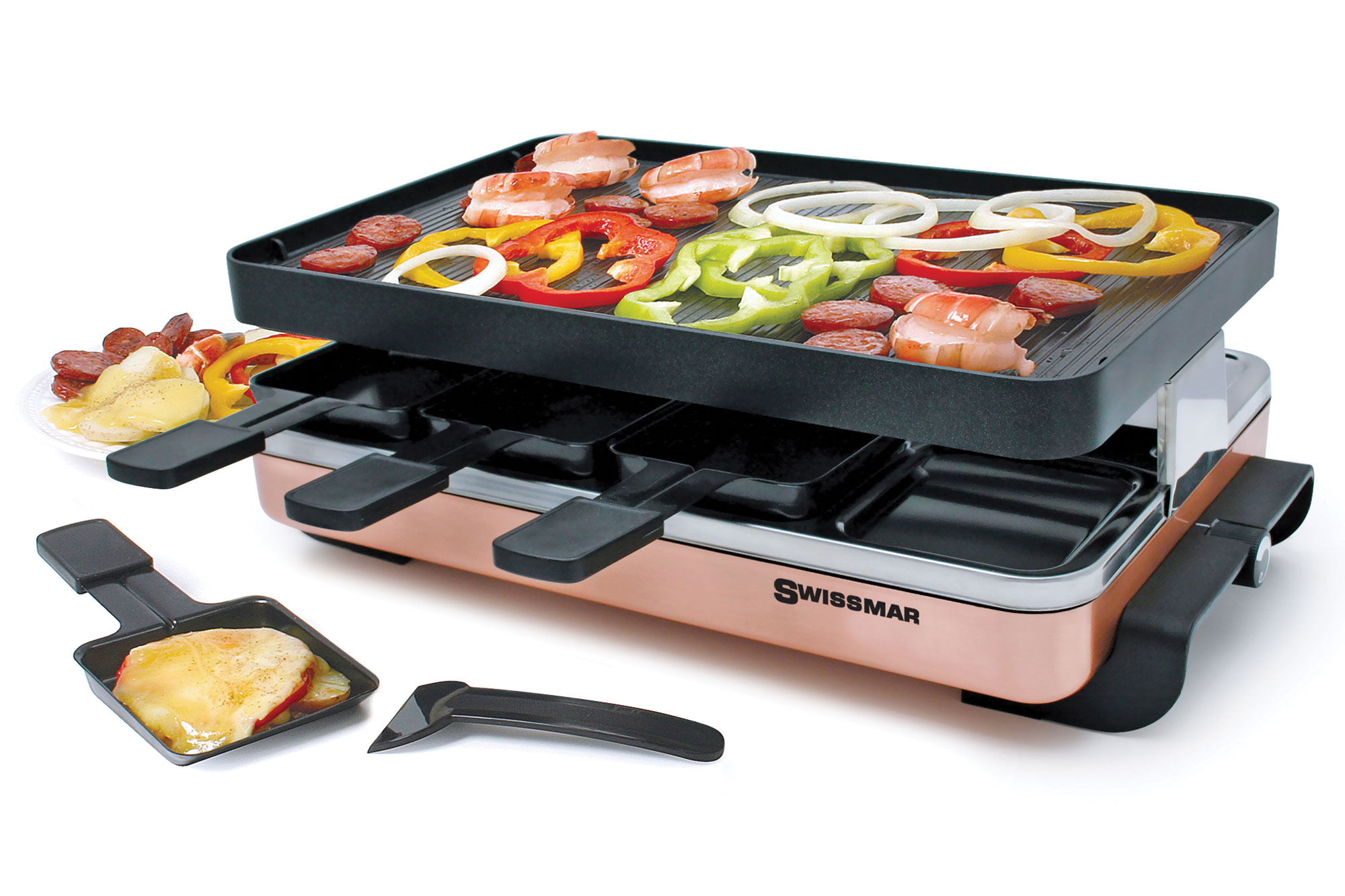 Swissmar Zermatt Copper Raclette Grill 8 Person Cutlery