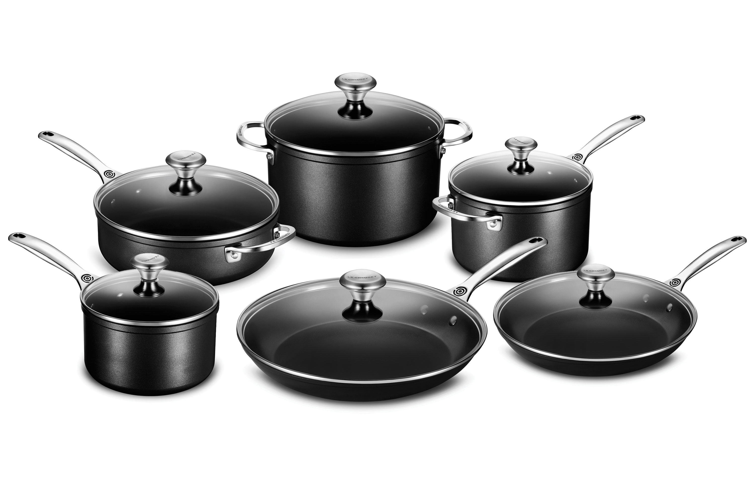 le creuset toughened nonstick cookware set 12 piece. Black Bedroom Furniture Sets. Home Design Ideas