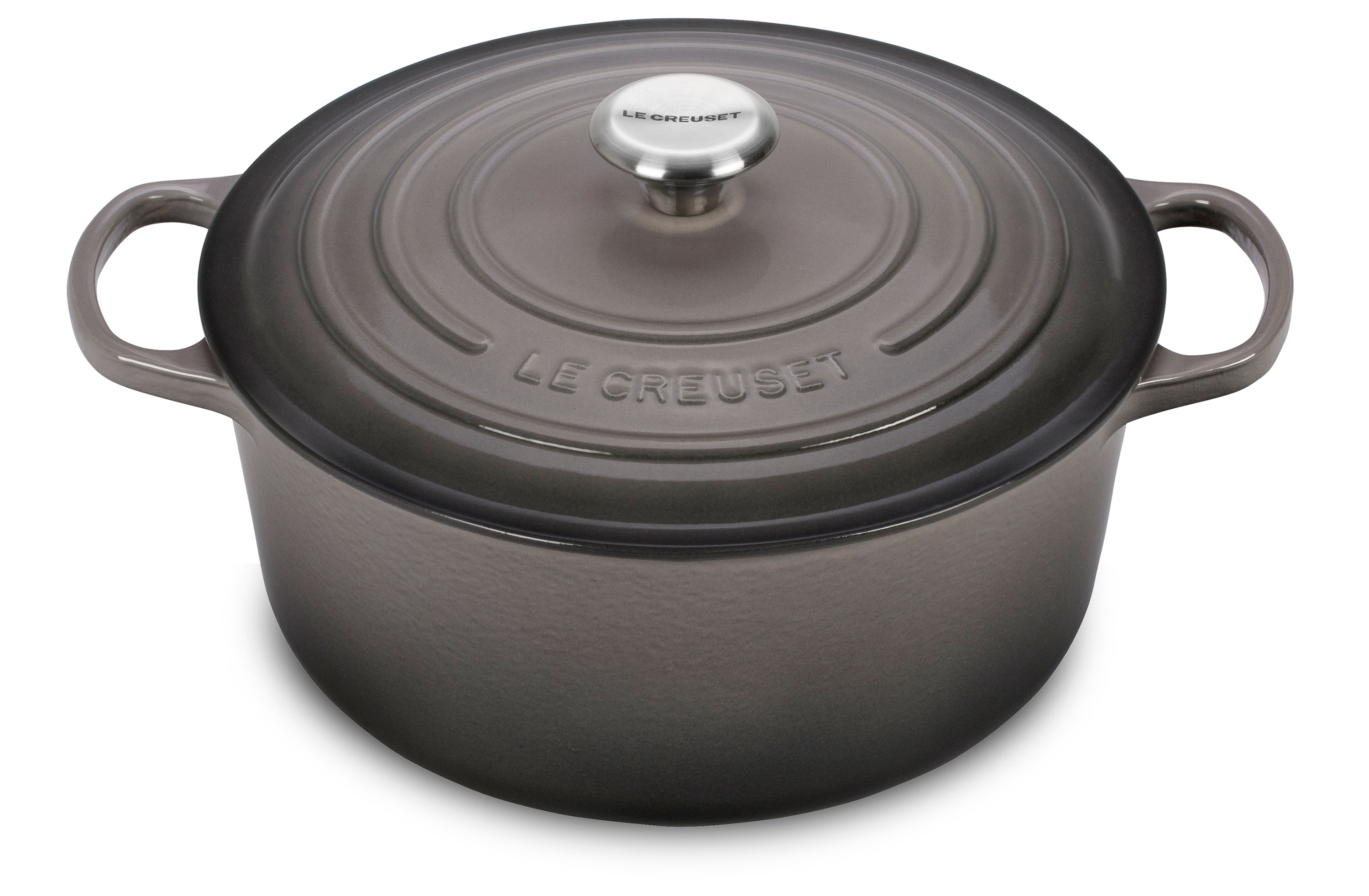 le creuset signature cast iron round dutch oven 9 quart oyster cutlery and more. Black Bedroom Furniture Sets. Home Design Ideas