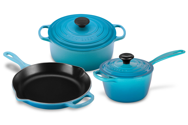 Le Creuset Cookware Set 5-piece Cast Iron Caribbean Blue   Cutlery ...