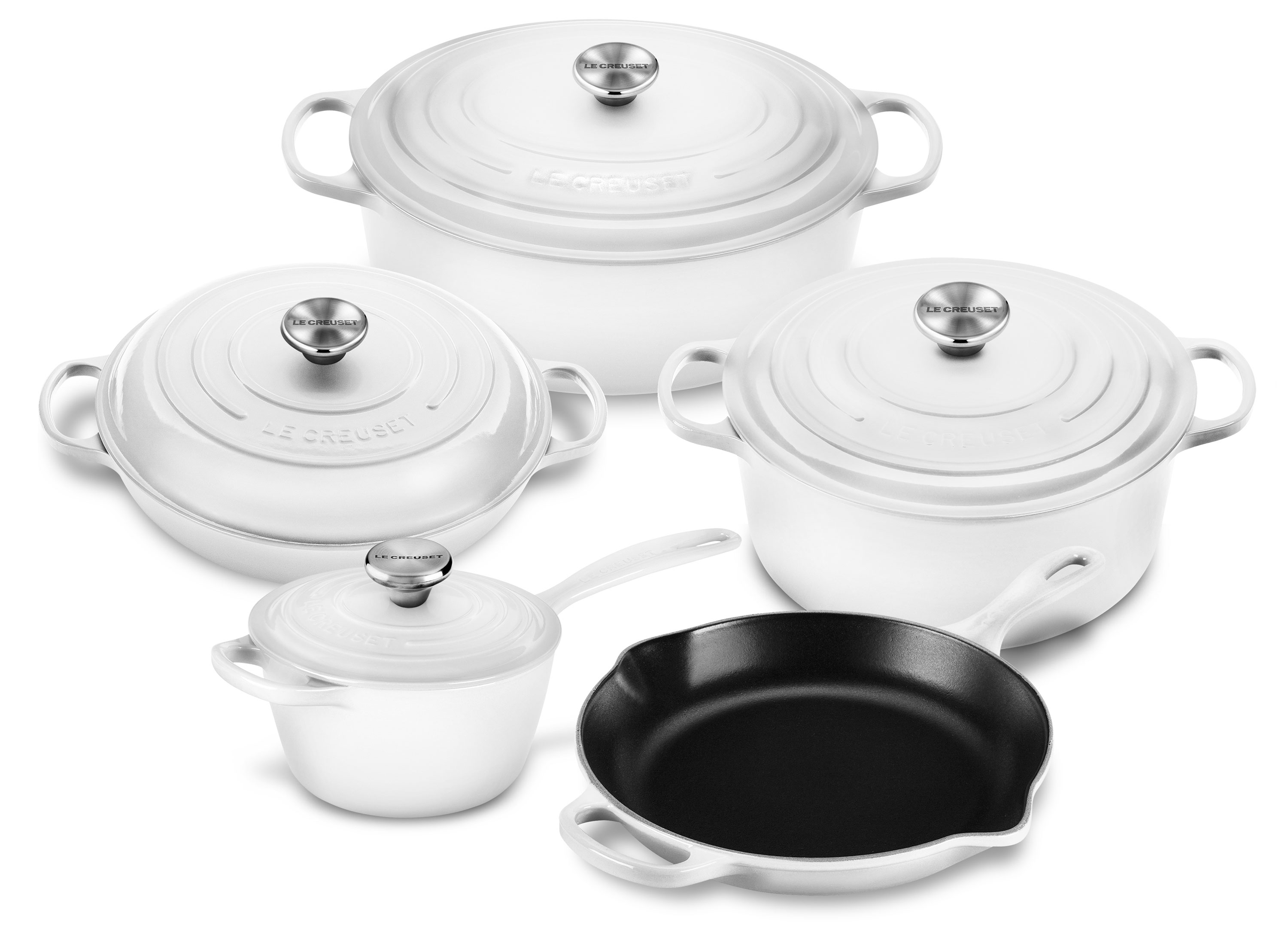 le creuset cookware set 9 piece signature cast iron white cutlery and more. Black Bedroom Furniture Sets. Home Design Ideas