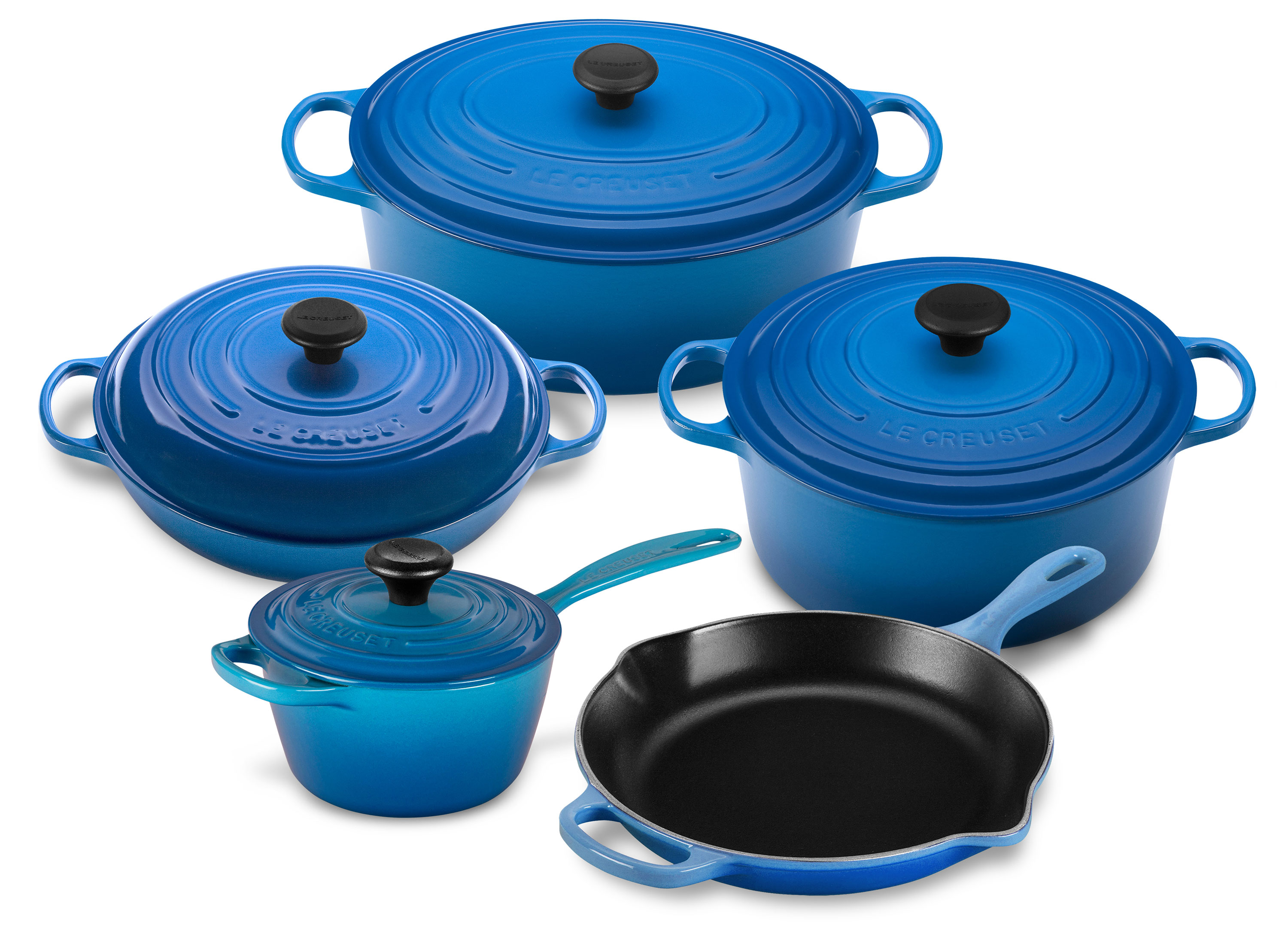 le creuset cast iron cookware set 9 piece marseille blue signature cutlery and more. Black Bedroom Furniture Sets. Home Design Ideas
