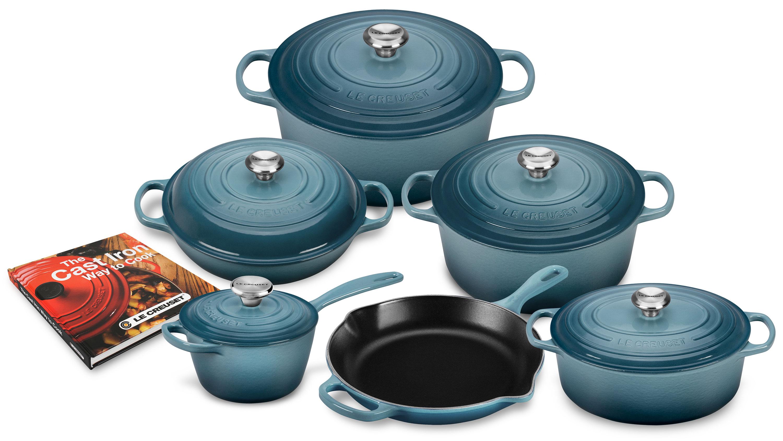 le creuset cookware set signature cast iron marine blue 12. Black Bedroom Furniture Sets. Home Design Ideas