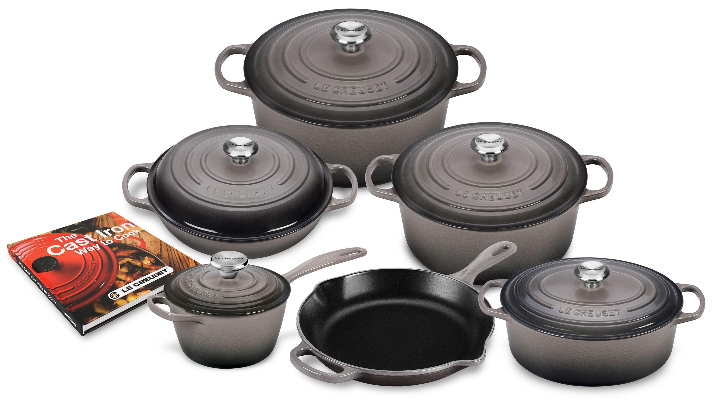 Le Creuset Signature Cast Iron Cookware Set Oyster Grey 12 ...