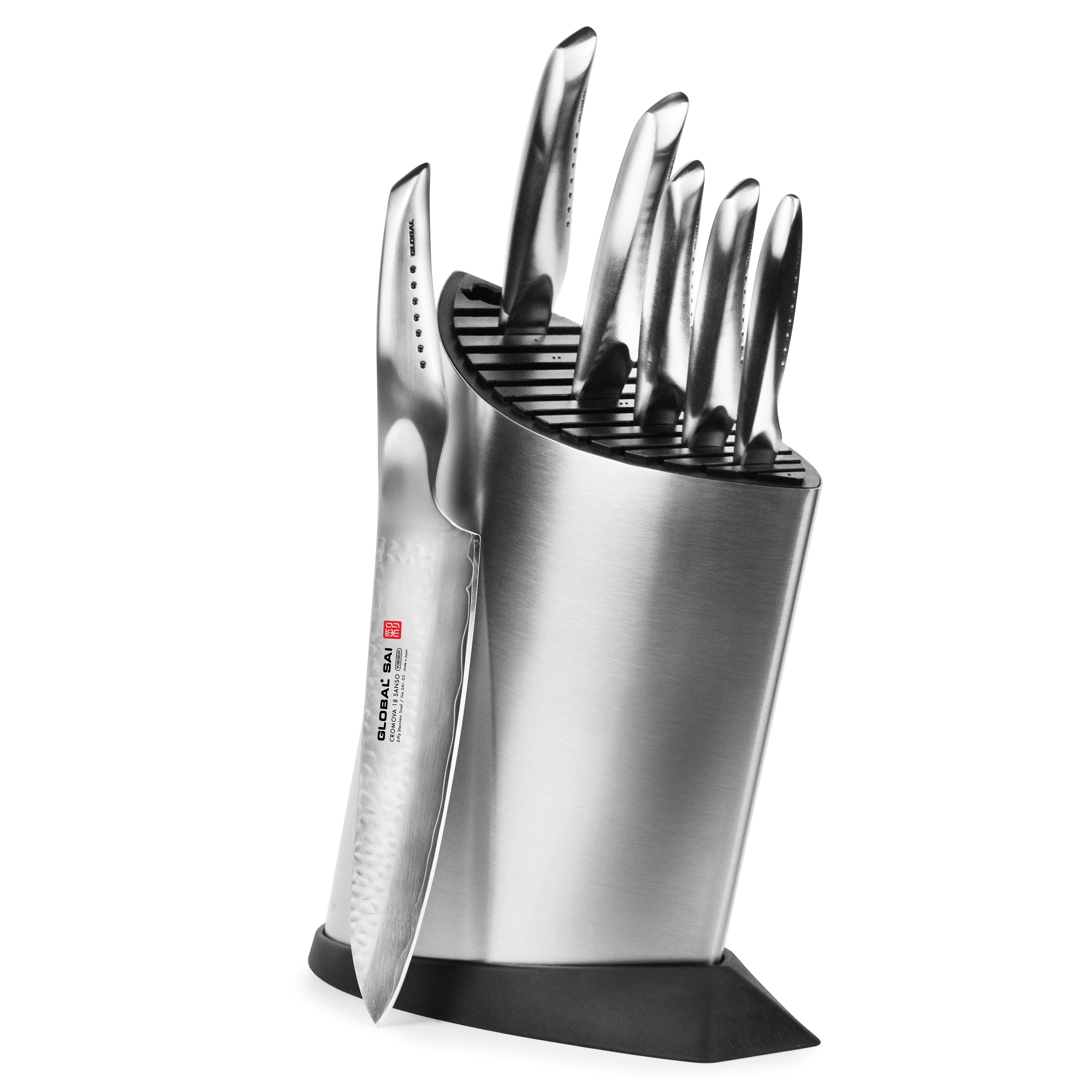 global kitchen knives global sai deluxe knife block set 7 piece cutlery and more 1767