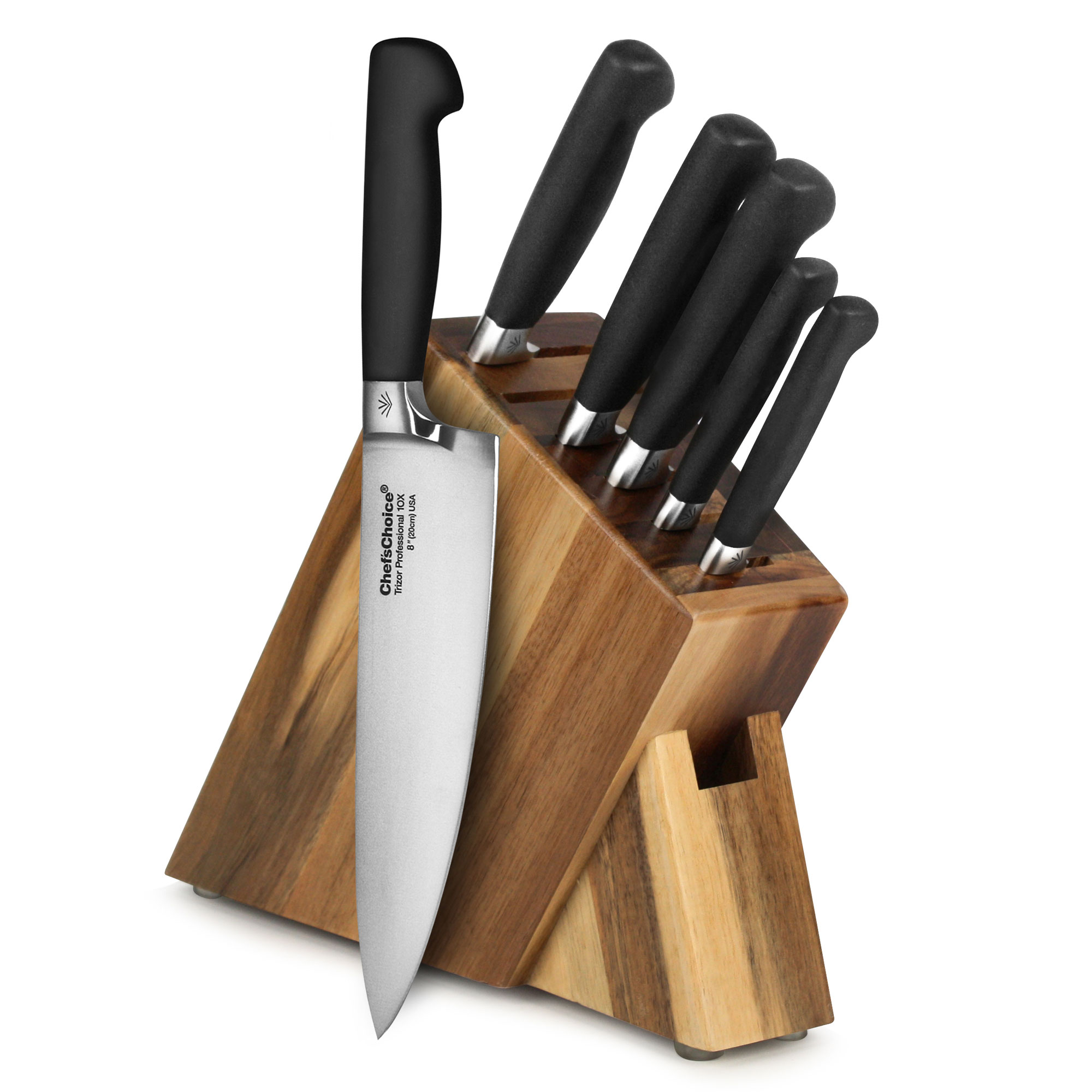 American Made In Usa Kitchen Knife Set By Chef S Choice Trizor 7 Piece