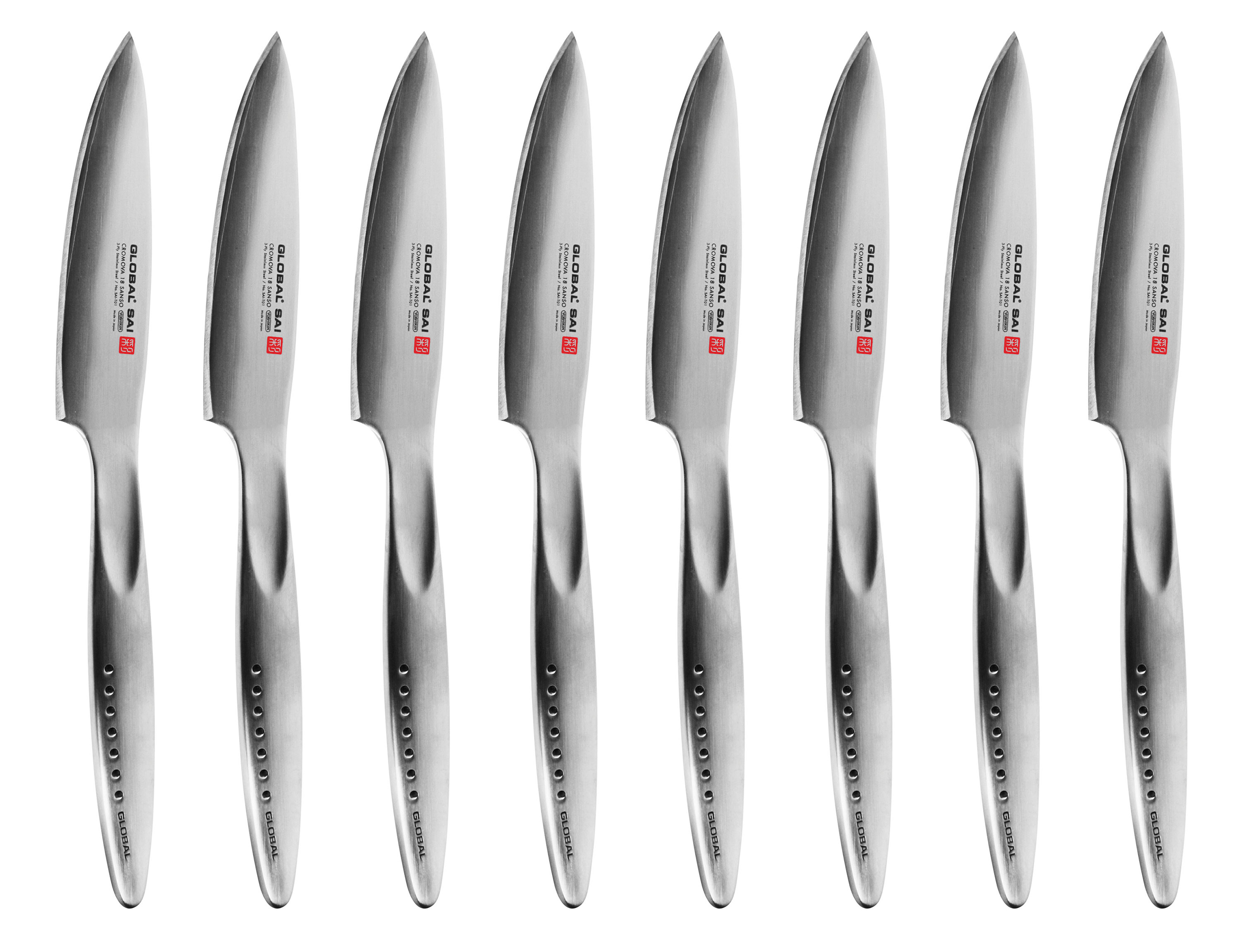 Global Sai Fine Edge Steak Knife Set 8 Piece Cutlery