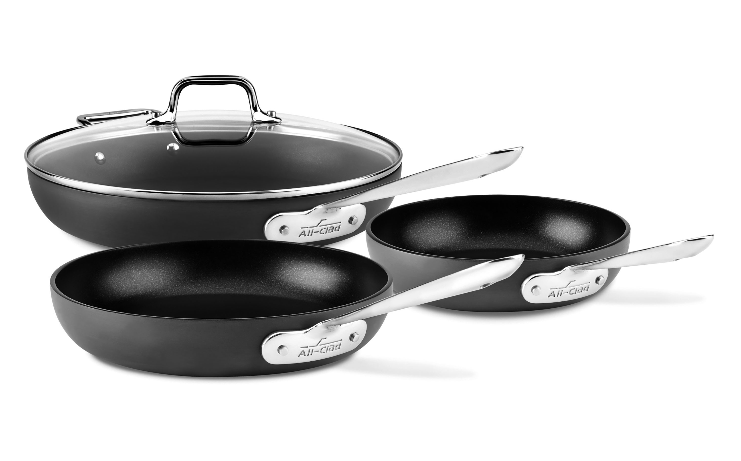 All Clad Nonstick Fry Pans Set Of 3 Ha1 Skillets With