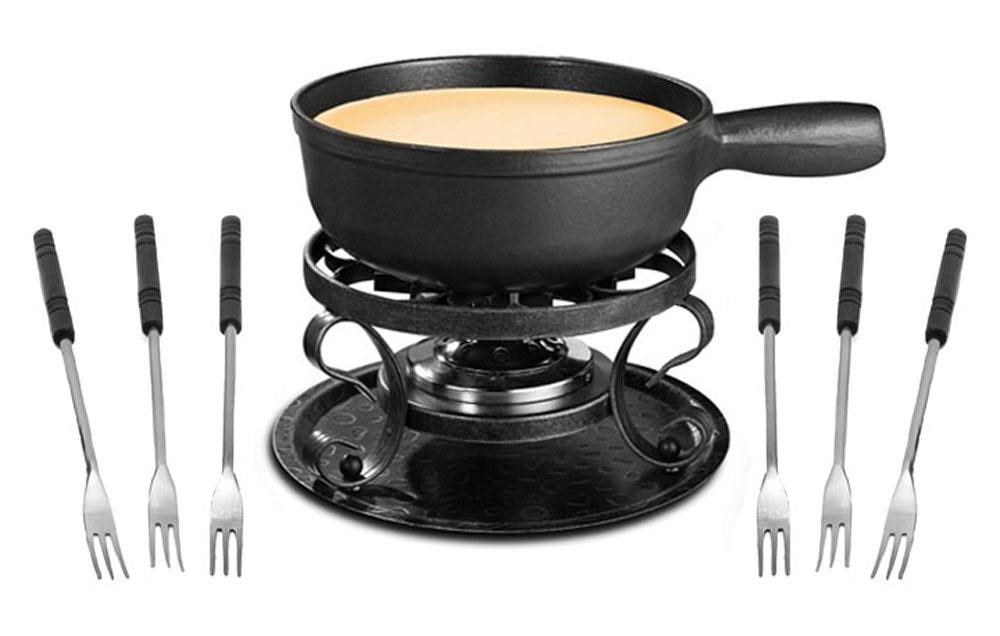 swissmar lugano fondue set black cast iron pot cutlery and more. Black Bedroom Furniture Sets. Home Design Ideas