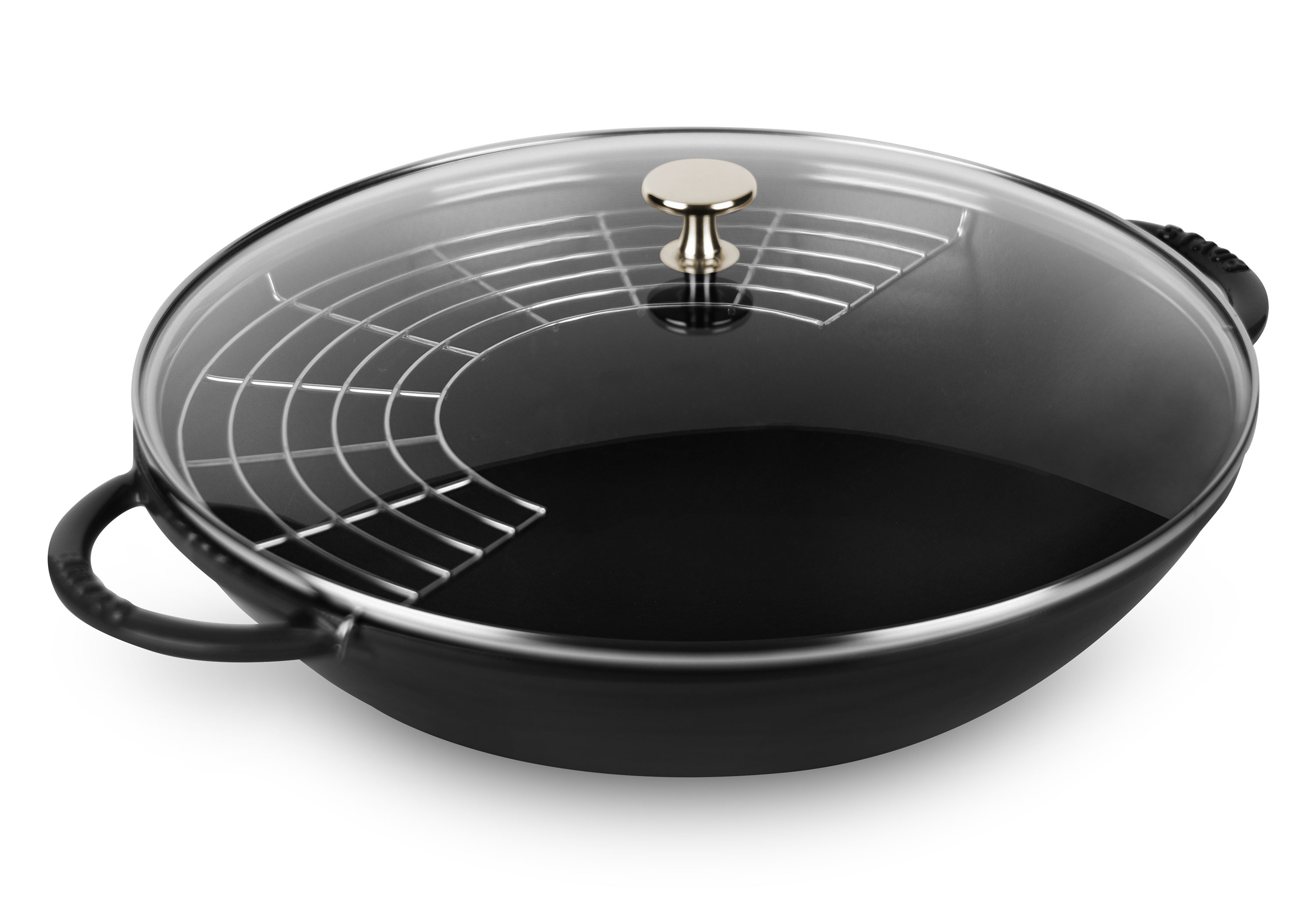 Staub Wok With Glass Lid 14 Quot Matte Black Cutlery And More