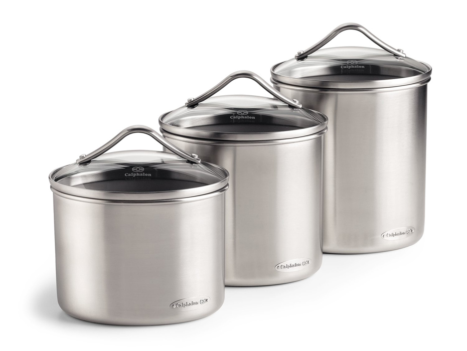kitchen canister sets stainless steel calphalon stainless steel oval canister set 3 24618