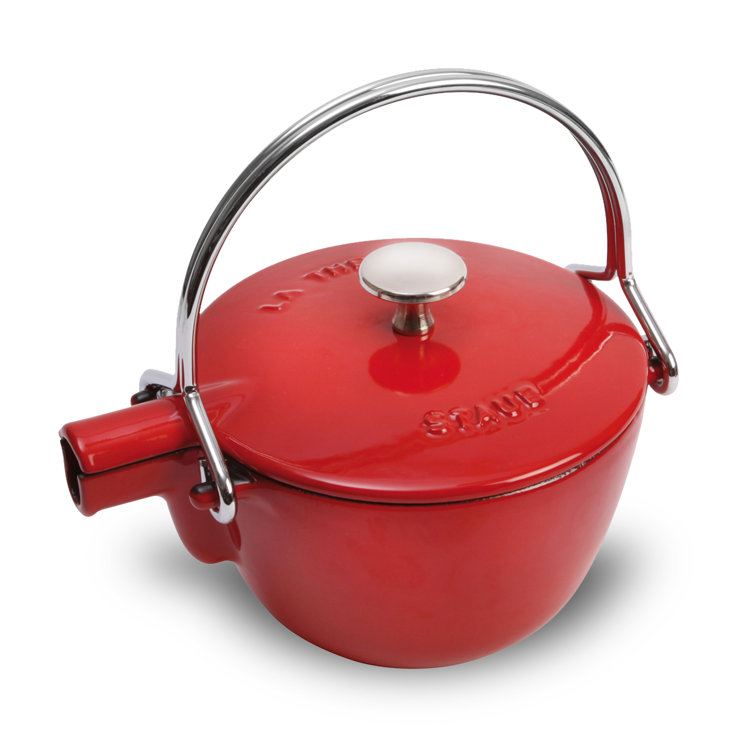 Staub La Theiere Teapot 1 Quart Cherry Red Cutlery And