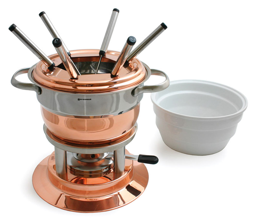 swissmar lausanne copper fondue set with ceramic insert 11 piece cutlery and more. Black Bedroom Furniture Sets. Home Design Ideas