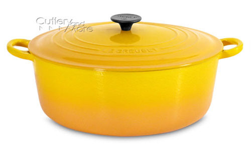 le creuset cast iron wide round dutch oven dijon cutlery and more. Black Bedroom Furniture Sets. Home Design Ideas