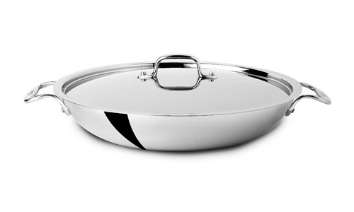 All Clad D3 Stainless Paella Pan With Lid 13 Inch