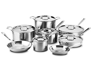 All Clad D5 Brushed Stainless Cookware Set 14 Piece