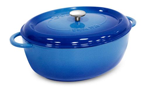 Fontignac Cast Iron Oval Dutch Oven 8 5 Quart Blue