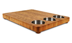 Totally Bamboo Chop Collection Bamboo Cutting Board with Stainless Bowls
