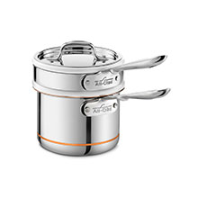 All-Clad Copper Core Ceramic Double Boiler & Saucepan Set