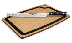 Wusthof Classic Ikon Hollow Edge Carving Knife with Epicurean Cutting Board