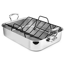 Mauviel M'cook Stainless Steel 16 x 12-inch Roasting Pan with Rack & Marinade Injector