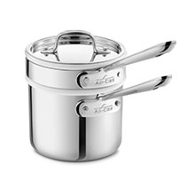 All-Clad Stainless Saucepan with Porcelain Double Boiler Insert