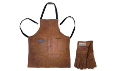 Outset Grilling Leather Apron & Grill Glove Set