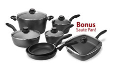 Swiss Diamond Nonstick Cookware Set with Bonus Saute Pan