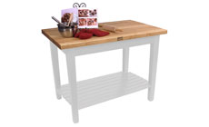 John Boos 48 x 24-inch Country Work Tables with Shelf