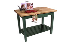 John Boos 48 x 24-inch Country Work Tables with Shelf & Utensil Drawer