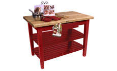 John Boos 48 x 24-inch Country Work Table with 2 Shelves & Utensil Drawer