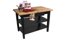 John Boos 48 x 24-inch Country Work Tables with 2 Shelves & Utensil Drawer