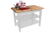 John Boos 48 x 24-inch Country Work Tables with 2 Shelves