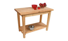 John Boos Country Maple Work Tables with Shelf & Utensil Drawer