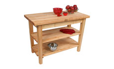 John Boos Country Maple Work Tables with 2 Shelves & Utensil Drawer