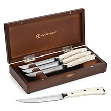 Wusthof Classic Ikon Creme Steak Knife Sets with Walnut Case