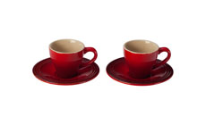 Le Creuset Stoneware 4-piece Espresso Cup & Saucer Set
