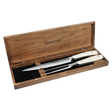 Wusthof Classic Ikon Creme Hollow Edge Carving Set with Walnut Case