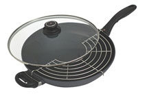 Swiss Diamond Nonstick Induction Wok with Lid, Rack & Long Handle