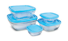 Duralex Lys Square Glass Bowl Set With Lids