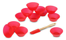 Le Creuset 12-piece Silicone Baking Cup Set with Bonus Silicone Spreader